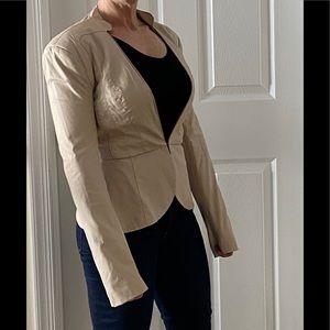 Bebe faux leather peplum nude jacket